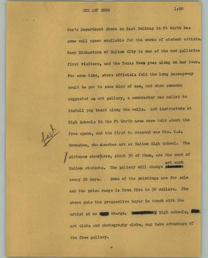 Primary view of object titled '[News Script: Cox art show]'.
