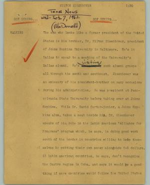 Primary view of object titled '[News Script: Milton Eisenhower]'.