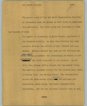 Primary view of object titled '[News Script: Boy Scout building]'.