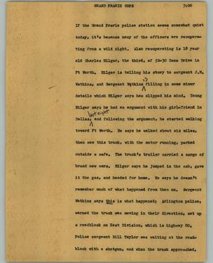 Primary view of object titled '[News Script: Grand Prairie cops]'.
