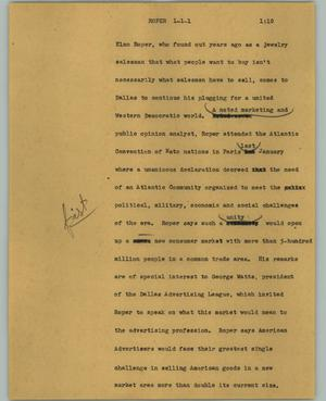 Primary view of object titled '[News Script: Roper]'.
