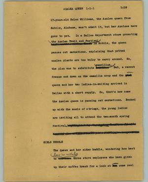 Primary view of object titled '[News Script: Azalea queen]'.