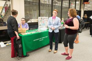 Primary view of object titled '[Kathleen Hobson at the 2015 LGBTQIA Career Fair]'.