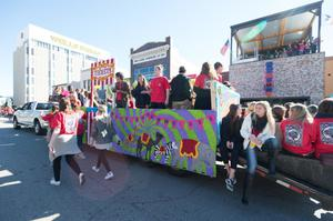 Primary view of object titled '[Circus Float at the 2014 Homecoming Parade]'.