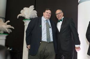 Primary view of object titled '[Michael Greig and Neal Smatresk at 2014 Salute to Faculty Excellence event]'.