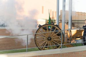 Primary view of object titled '[Canon Discharged at UNT Homecoming Game]'.