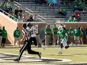 Primary view of object titled '[Portland State Football Player to Catch Ball]'.