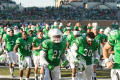 Photograph: [Mean Green Football Players Running on Field]