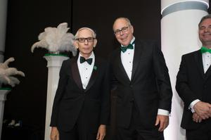 Primary view of object titled '[Paul Dworak and Neal Smatresk at 2014 Salute to Faculty Excellence event]'.