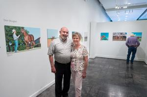 Primary view of object titled '[Don and Jan Shugart at Exhibit]'.
