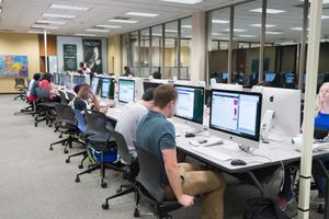 Primary view of object titled '[Students in the Willis Library computer lab, 2]'.