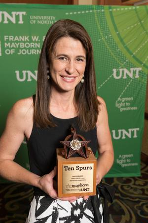 Primary view of object titled '[Amy Burgess Holding First Place Trophy]'.