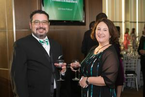 Primary view of object titled '[Spencer Keralis and Julie Leuzinger at 2014 Salute to Faculty Excellence event]'.