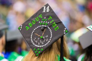 "Primary view of object titled '[""About Time"" Graduation Hat]'."