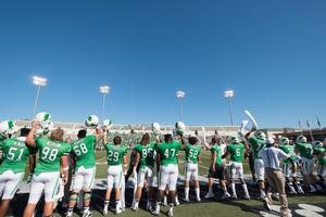Primary view of object titled '[Helmets Up UNT Football Team]'.