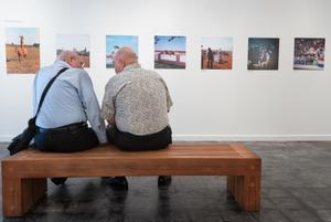 Primary view of object titled '[Don Shugart and Ray Bankston Conversing at Exhibit]'.