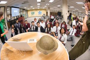 Primary view of object titled '[Uplift Summit International Preparatory students listen to presentation]'.