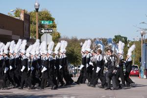 Primary view of object titled '[UNT Marching Band on West Oak Street]'.