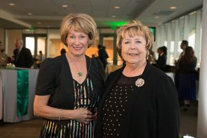 Primary view of object titled '[Jane Huffman and guest at 2014 Salute to Faculty Excellence event]'.
