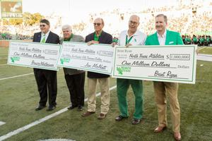 "Primary view of object titled '[Jerome ""Bruzzy"" Westheimer, Jim McNatt and Brint Ryan donate Millions to UNT Athletics]'."