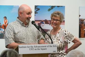 Primary view of object titled '[Don and Jan Shugart at Podium]'.