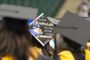 "Primary view of object titled '[""I Want Adventure in the Great Somewhere"" Graduation Cap]'."