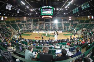 Primary view of object titled '[Wide Angle Photo of UNT vs Ole Miss 2015 Basketball Game]'.