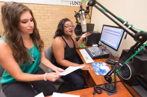 Primary view of object titled '[NTDaily Radio Personalities Allie Rokas and Brianna Pleasant]'.