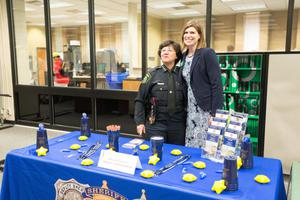 Primary view of object titled '[Dallas Police officer at the LGBTQIA Career Fair, 3]'.