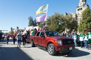 Primary view of object titled '[University of North Texas 2014 Homecoming Parade, 1]'.