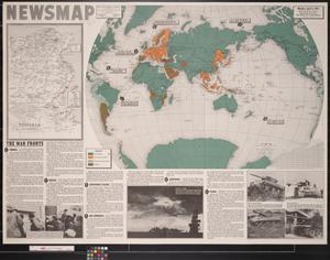 Primary view of object titled 'Newsmap. Monday, April 5, 1943 : week of March 26 to April 2, 186th week of the war, 68th week of U.S. participation'.