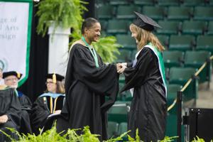 Primary view of object titled '[Dean Dorothy Bland at the 2014 Commencement]'.
