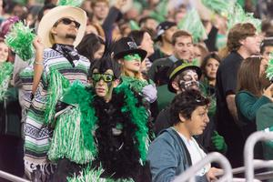 Primary view of object titled '[Fans Dressed in Green During the Homecoming Game]'.