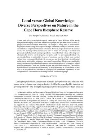 Local versus Global Knowledge: Diverse Perspectives on Nature in the Cape Horn Biosphere Reserve