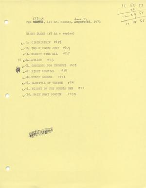 Primary view of object titled 'Music USA playlists, June-December 1973'.