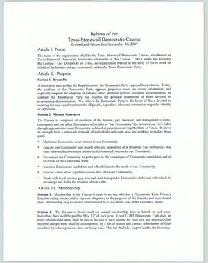 Primary view of object titled 'Bylaws of the Texas Stonewall Democratic Caucus'.