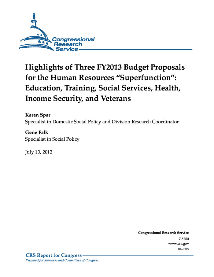 Highlights Of Three Fy2013 Budget Proposals For The Human Resources