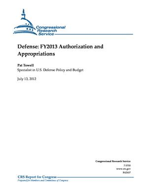 Defense: FY2013 Authorization and Appropriations