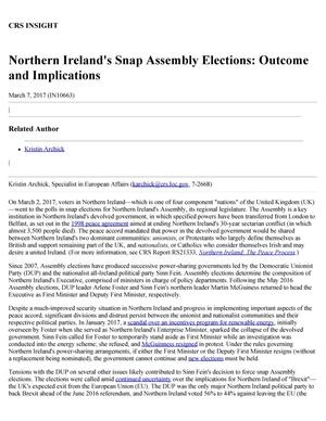 Northern Ireland's Snap Assembly Elections: Outcome and Implications