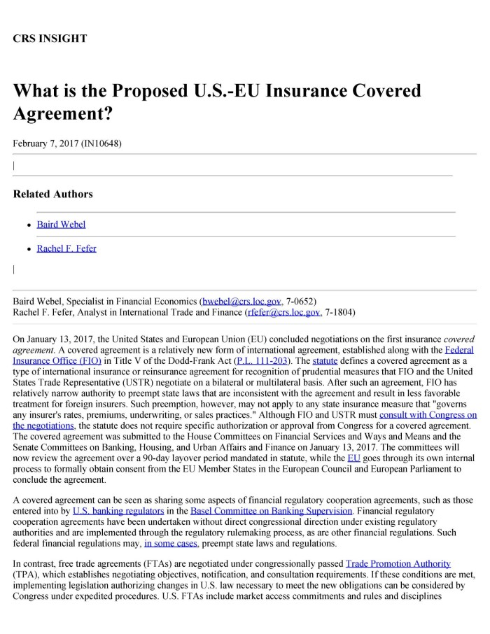 What Is The Proposed Us Eu Insurance Covered Agreement Digital
