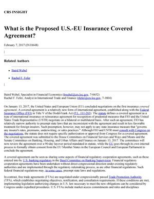 Primary view of object titled 'What is the Proposed U.S.-EU Insurance Covered Agreement?'.