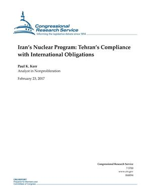 Primary view of object titled 'Iran's Nuclear Program: Tehran's Compliance with International Obligations'.