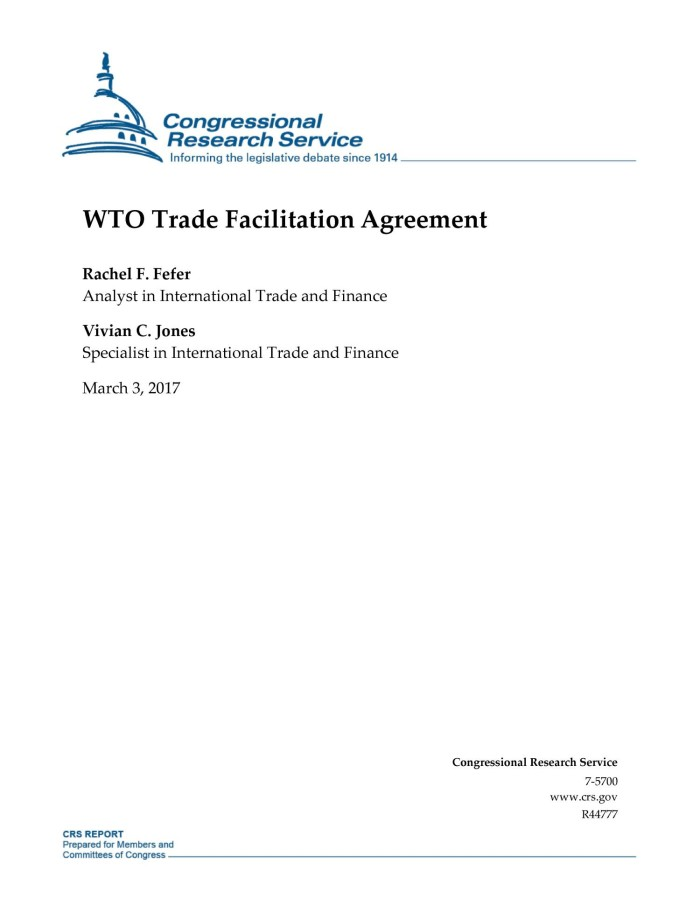 Wto Trade Facilitation Agreement Digital Library