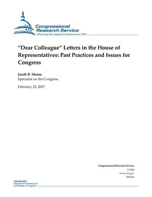 "Primary view of object titled '""Dear Colleague"" Letters in the House of Representatives: Past Practices and Issues for Congress'."