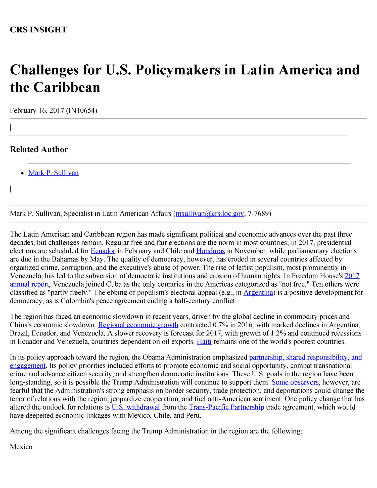 Challenges For US Policymakers In Latin America And The - Poorest caribbean countries