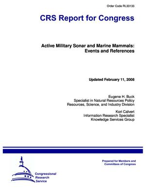 Active Military Sonar and Marine Mammals: Events and References