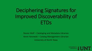 Deciphering Signatures for Improved Discoverability of ETDs
