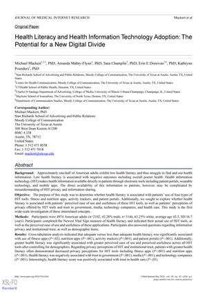 Health Literacy and Health Information Technology Adoption: The Potential for a New Digital Divide
