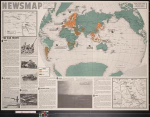 Primary view of object titled 'Newsmap. Monday, March 29, 1943 : week of March 19 to March 26, 185th week of the war, 67th week of U.S. participation'.