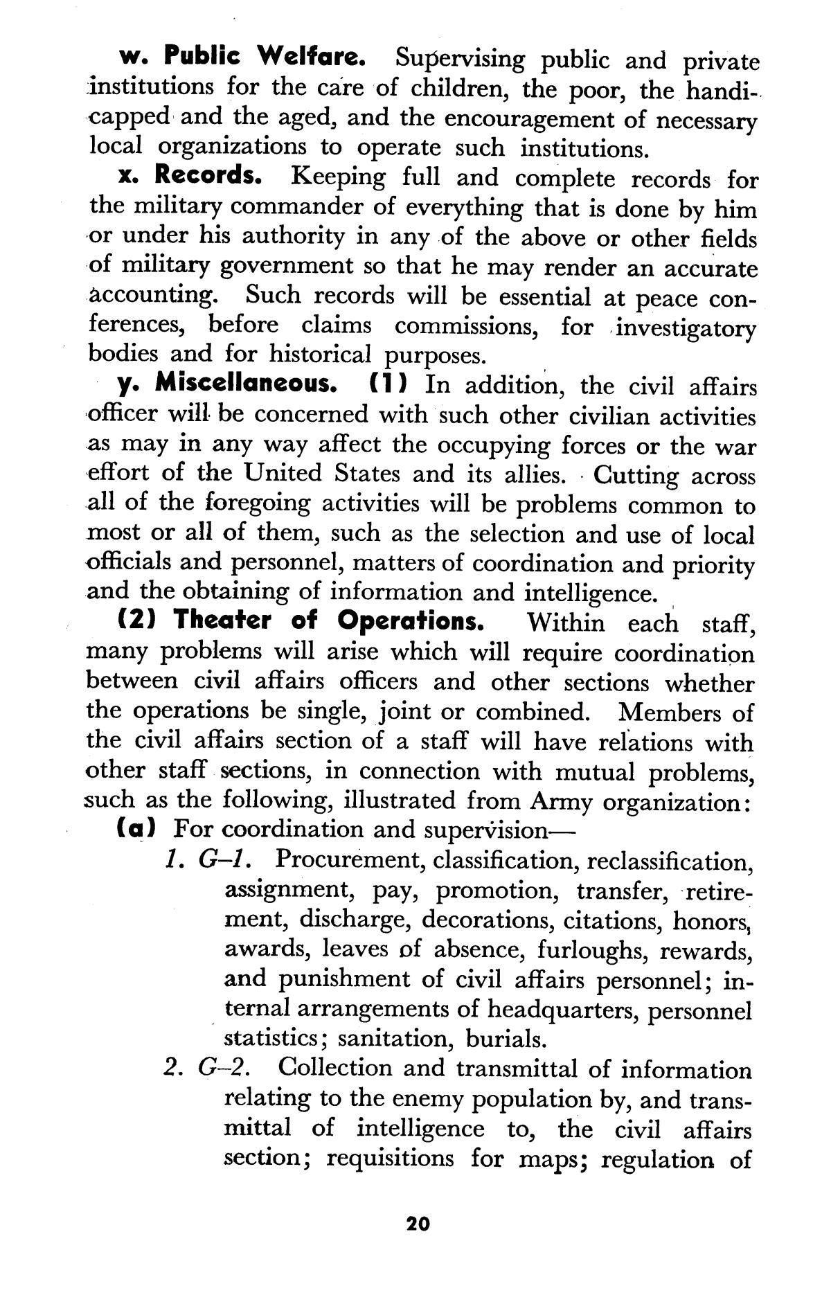 Army-Navy manual of military government and civil affairs.                                                                                                      20